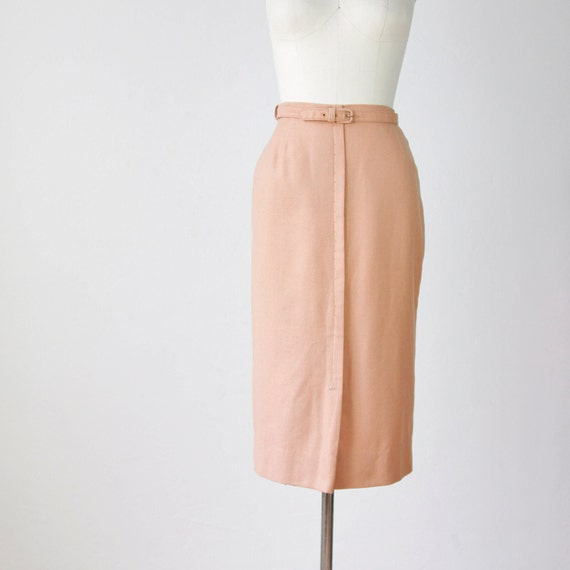 1940s wool pencil skirt matching belt sand by salvagelife