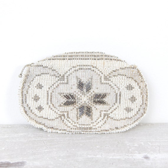Silver White Beaded Vintage Purse Czechoslovakia Wedding Bridal