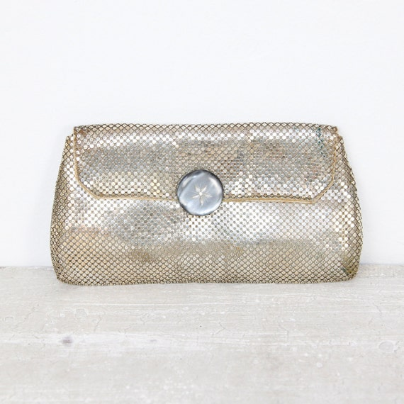Silver Mesh Metal Whiting and Davis Clutch Purse Wedding Bridal