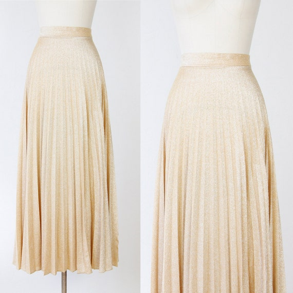 gold metallic maxi skirt accordion pleats by salvagelife