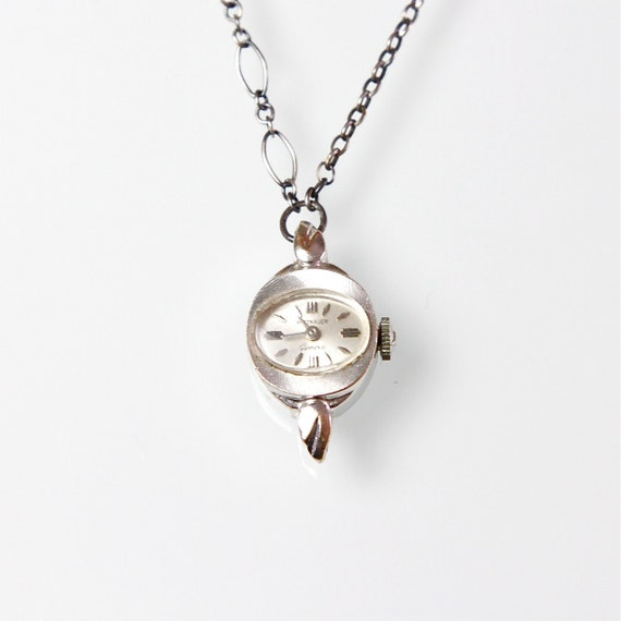 Watch Necklace Sterling Silver Mid Century Vintage