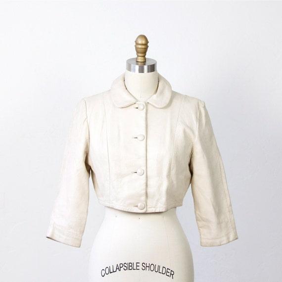 Ecru Cropped Leather Jacket