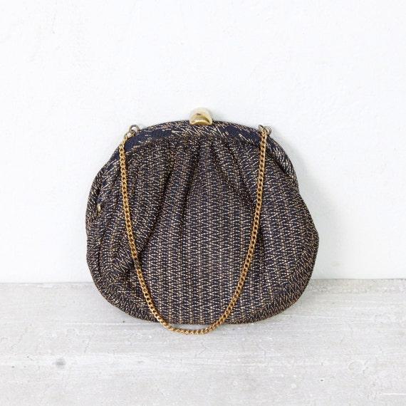 Round Black Gold Zig Zag Stitching Handbag