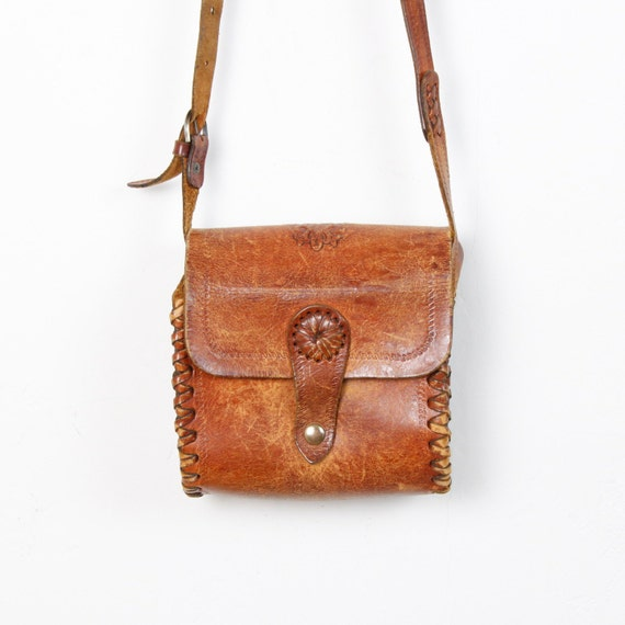 Tooled Leather Distressed Cross Body Bag
