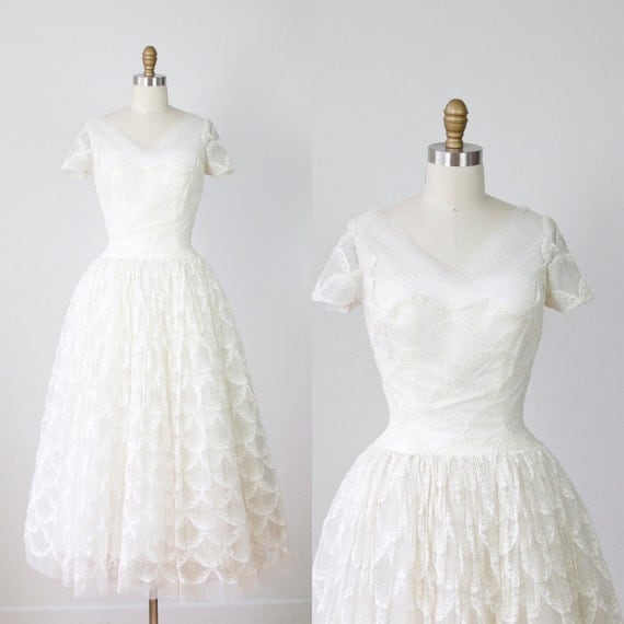 1950s White Lace Wedding Dress Tulle VIntage