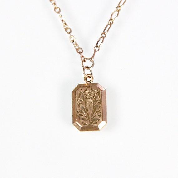 Floral Engraved Victorian Locket Necklace