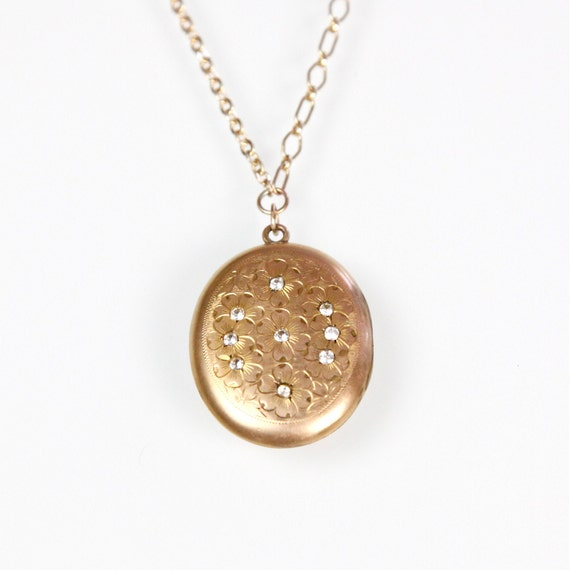 Gold Oval Flower and Rhinestone Locket Necklace