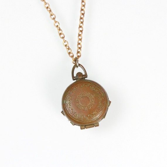Locket Trinket Box Brass Pendant Necklace