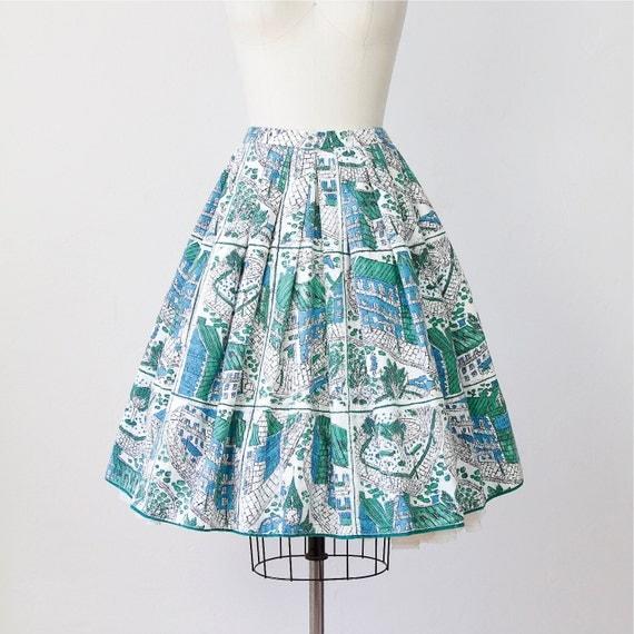 Full Skirt House Print Mid Century Green Blue 1950s