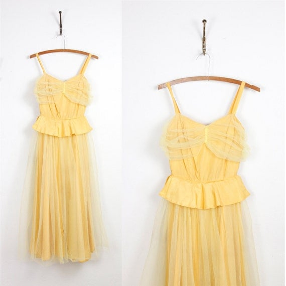 1940s Yellow Taffeta and Tulle Full Skirt Dress
