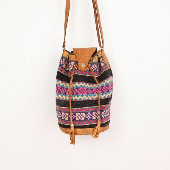 Southwestern Bucket Bag Woven and Leather