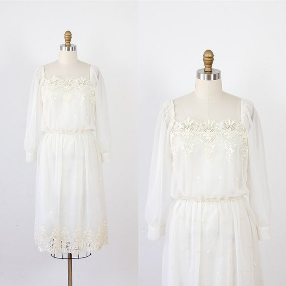 Ivory Dress Long Sleeves with Openwork Embroidery