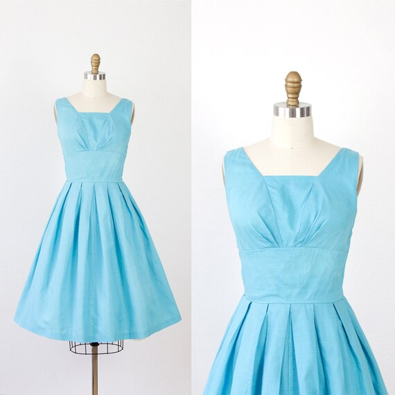 Ocean Blue 1960s Dress Full Pleated Skirt