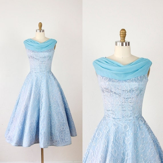RESERVED Blue Cinderella Party Dress with Silver Sparkly Lace