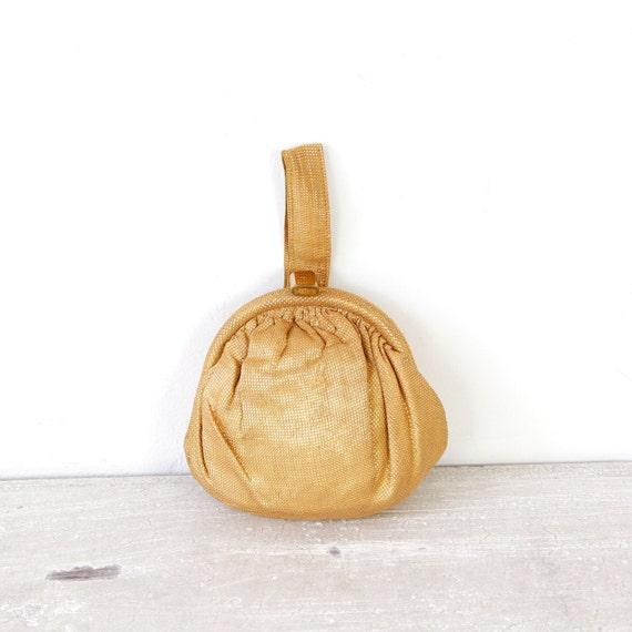 Gold Metallic Old Hollywood Round Handbag