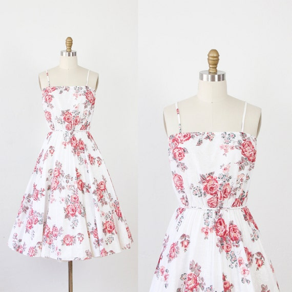 Pink Rose Floral Dress with Full Pleated Skirt