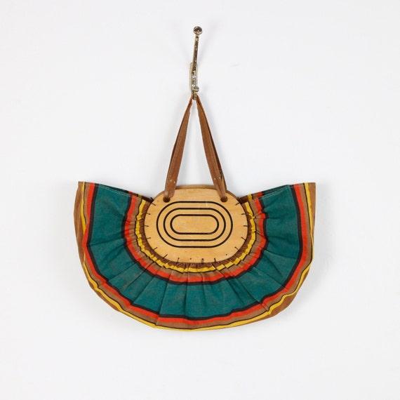 African Stripe and Wood Vintage Boat Bag