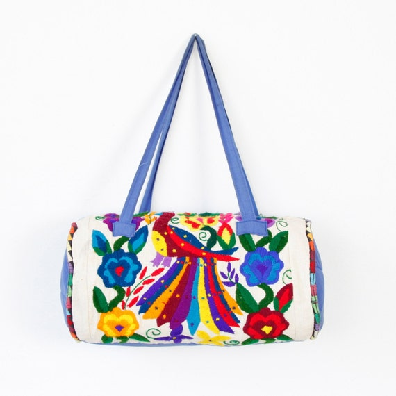 Ethnic Multi Colored Embroidered Barrel Travel Bag Vintage