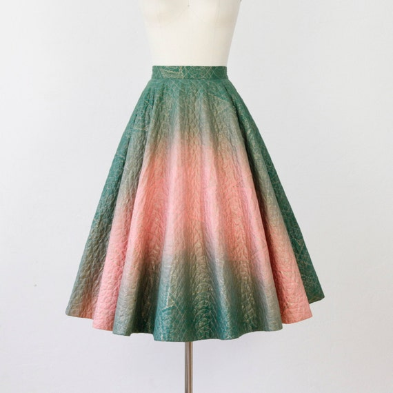 Full Green Pink and Gold Quilted Ombre Skirt