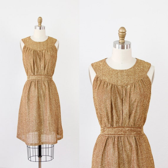 Metallic Gold Shimmer Belted Cocktail Party Dress