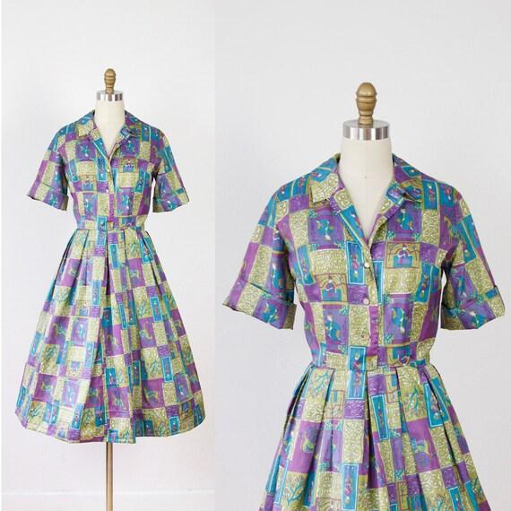 Medieval Print Full Skirt 1960s Day Dress