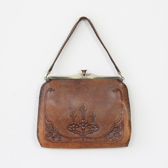 Art Deco Nouveau Floral Tooled Leather Vintage Bag