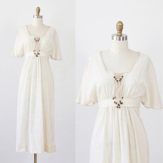 Cream Bohemian Maxi Dress with Beaded Tassels