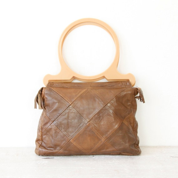 Leather Patchwork with Circular Ring Handle Bag