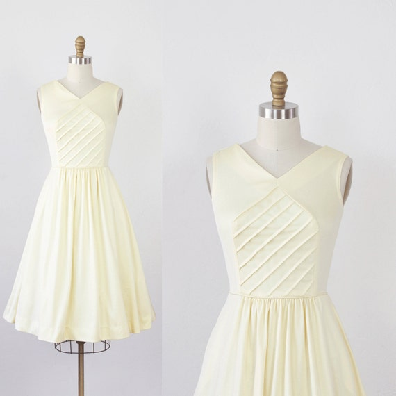 Pale Yellow Striped Pintuck Pleated Day Dress