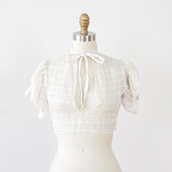 White 1930s Cropped Top with Ruched Sleeves and Bow