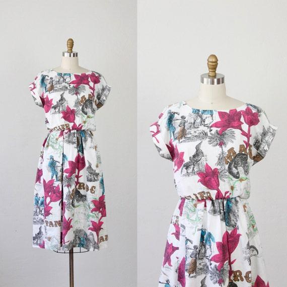 African Map and Floral Print Cotton Shirtwaist Dress