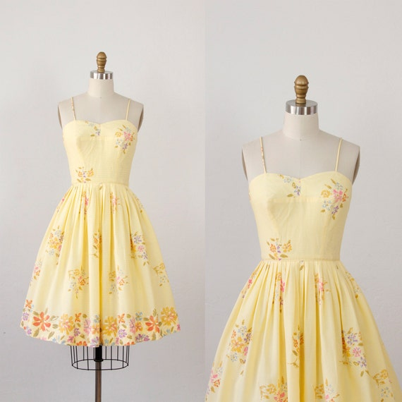 vintage yellow floral dresses