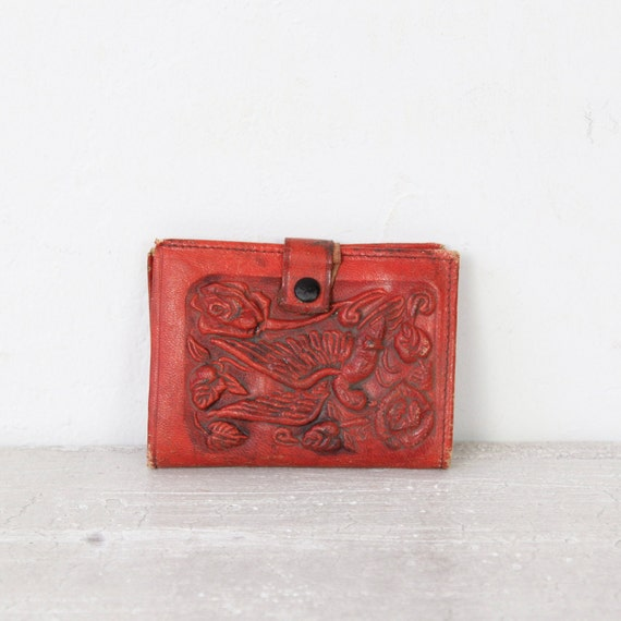 Small Red Floral Leather Distressed Vintage Wallet