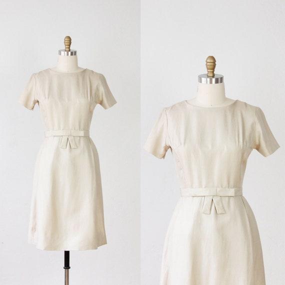 Ecru Tailored Silk Dress with Bow Belt