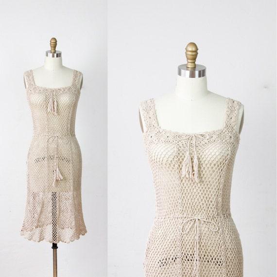 Taupe Cotton Openwork Crochet Drawstring Dress