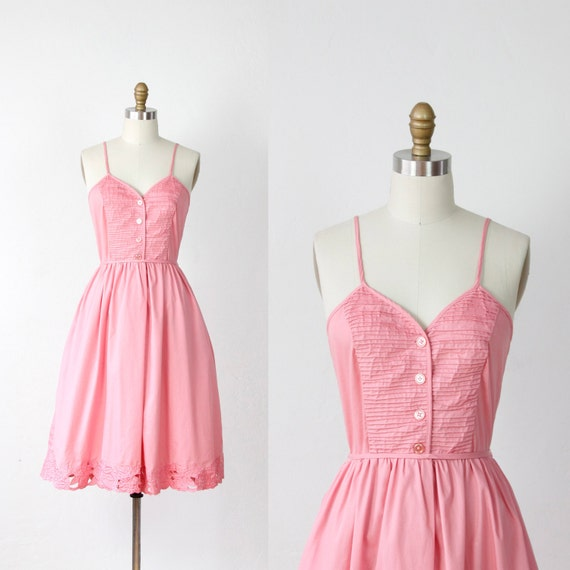 Pink Pleated Bodice Dress with Embroidered Cut Outs