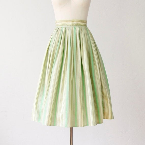 Key Lime Green Striped Cotton Full Skirt