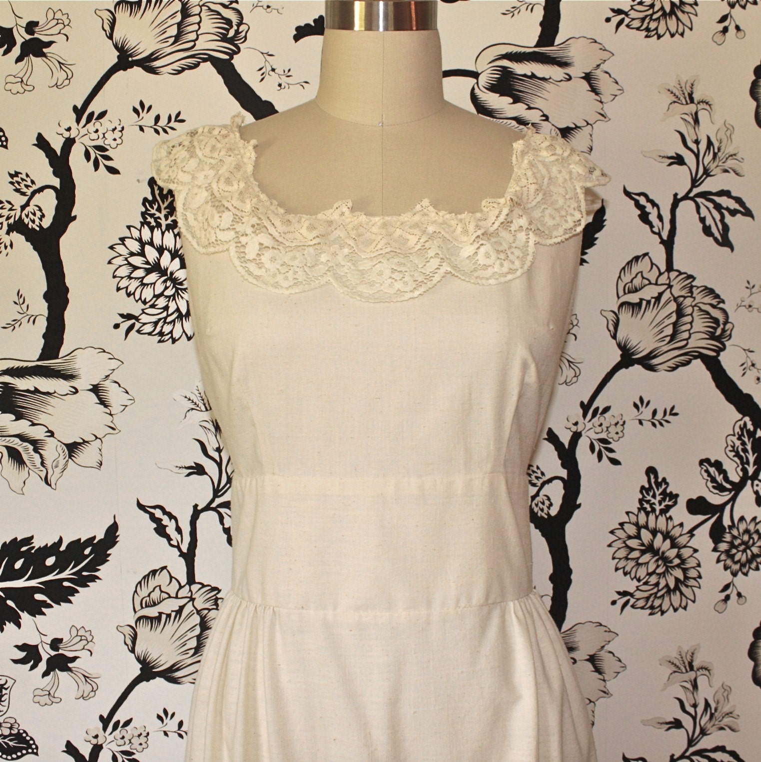 1970s vintage CREAM cotton BOHEMIAN wedding DRESS