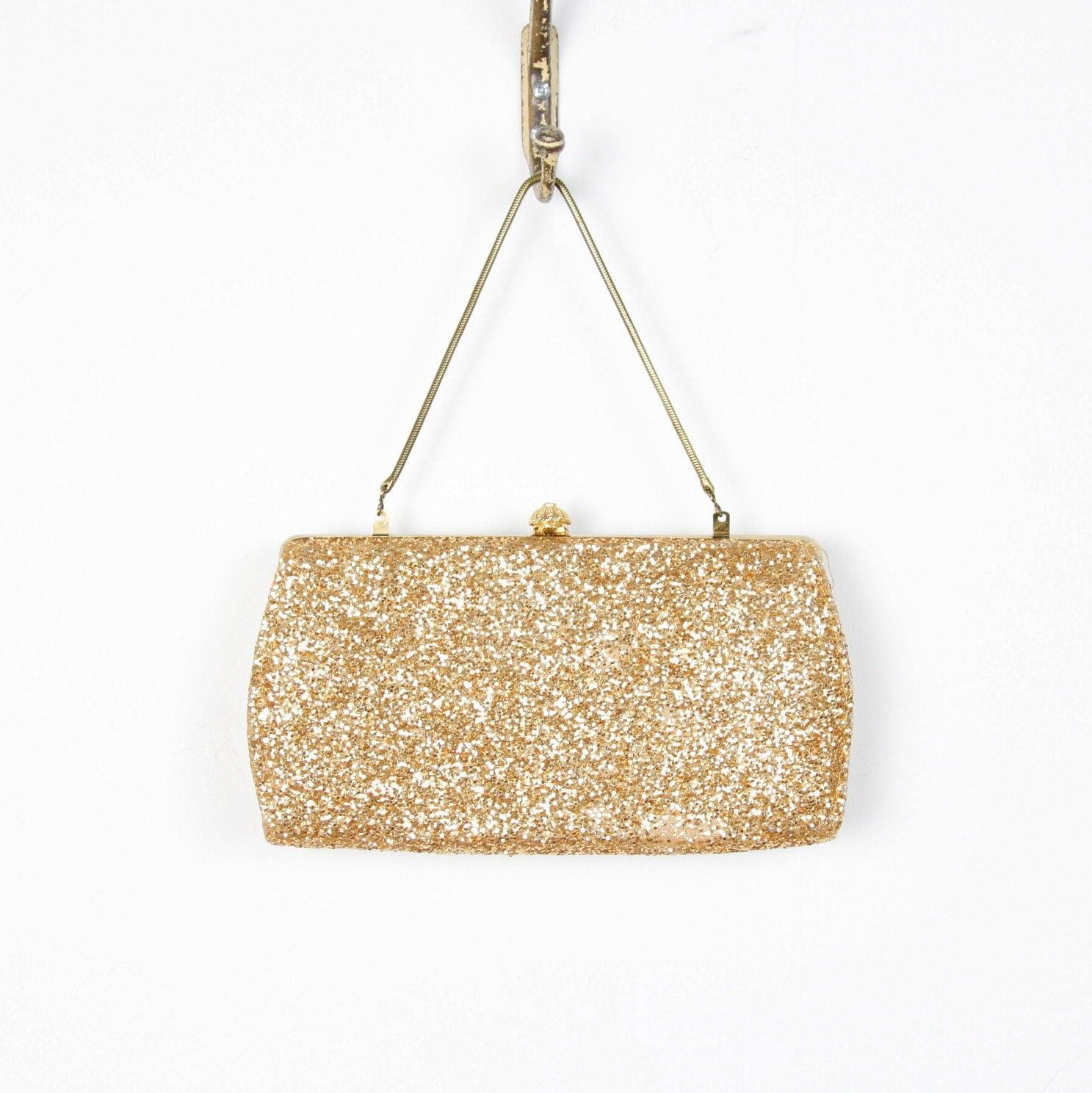 Gold Glitter Sparkle Clutch Purse Wedding Bridal