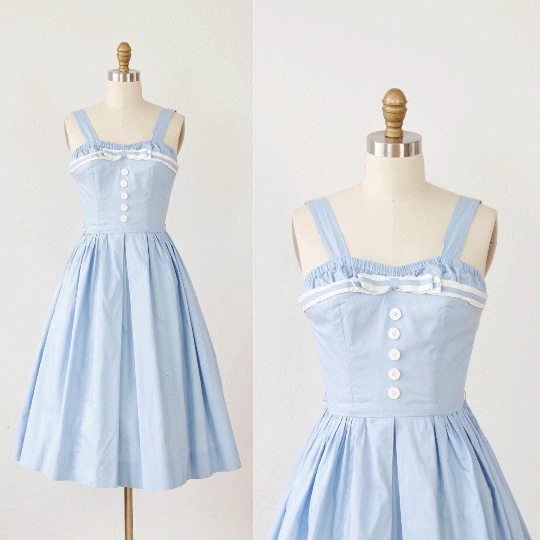 Light Blue 1950s Pin Up Sailor Dress Full Skirt