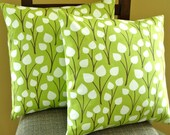 Throw Pillow Covers 18X18 Pair of Two in Lime Buds