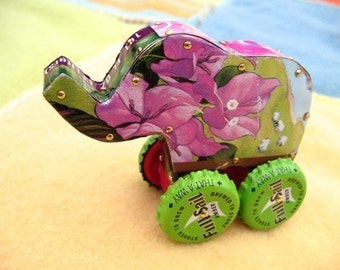 Toy Elephant | Push Toy with wheels | Recycled Toy | Desk Art