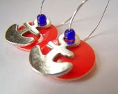 Nautical Jewelry - Anchors - Charming Red Enamel and Rustic Metal Yacht Club Earrings