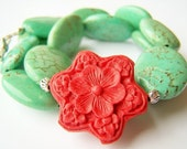 Frida - Red, Carved Cinnabar Flower and Turquoise Stone Necklace