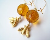 Honey Bee Earrings - Honeyballs - Golden Yellow Amber Glass and Brass Bees Fashion Jewelry