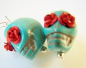 Turquoise Day of the Dead Earrings, Turquoise Skulls, Red Roses, Turquoise & Red Calavera Earrings, Dia de Los Muertos Skulls, Sugar Skulls