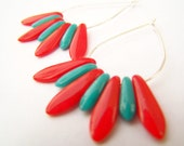 Dagger Earrings - Fringe - Teardrop Hoops with Red & Turquoise Glass Beads