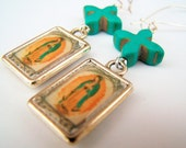 Virgin de Guadalupe Earrings - Guadalupe - Turquoise Crosses & Mexican Icon Charms on Kidneywires - Day of the Dead