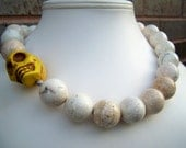 Day of the Dead Necklace - Vida - Chunky Statement Necklace in White with Big Yellow Skull