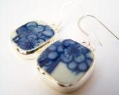 Pottery Shard Earrings - Sakura - Ming Style Porcelain on Sterling Silver Fishhooks - Broken China Jewelry